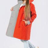 Пальто двухстороннее демисезонное для девочек TM X-Woyz, Цвет Коралл Размеры 122- 158