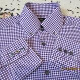 Стильная рубашка в гусиную лапку/хлопок/плотная фиолетовая 48-50размер s m