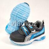 Детские светящиеся кроссовки с подсветкой для мальчика серые с синим 21р 4074-2