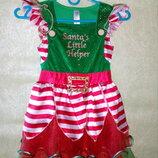 Платье маленькой помощницы Санты 6-8 лет.