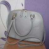стильная кожаная светло-серая сумка vera pelle Италия