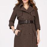 Двубортное женское пальто в мелкую клетку Новинка бренда X-woyz Размеры 42- 48