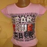 Крутая футболка с надписями, камнями и рваной спинкой 2 - 4 года