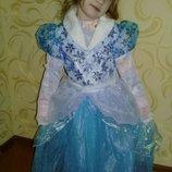 Карнавальное платье Эльзы, Снежинка на 7-8лет.