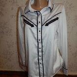 блузка белая атласная стильная, модная р12