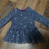 Трикотажное платье под джинс F&F на девочку 1-1.5 года в идеальном состоянии