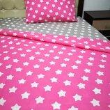 Звездочки Яркий качественный Полуторный постельный комплект из хлопка Расцветка на выбор
