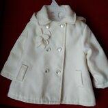 Пальто 1-1,5 года деми белое плащ плащик демисезонную куртка курточка