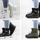 Женские высокие ботинки Фила Fila белые, темно-зеленые, черные, зима, р. 36-41, SF6639-42