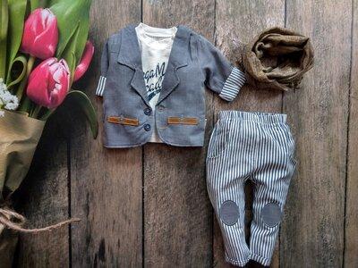 Шикарний костюм для хлопчика реглан, піджак, штани, шарф.