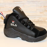 Кроссовки черные высокие код Т153