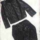 Нарядный праздничный комплект пайетками/костюм /френч пиджа -юбка мини Mango