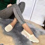 Женские натуральные кожаные балетки мокасины слипоны с перфорацией