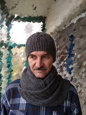 Мужская зимняя шапка шарф