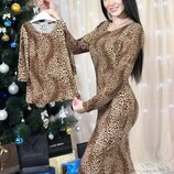 Family look Нарядные леопардовые платья мама дочка