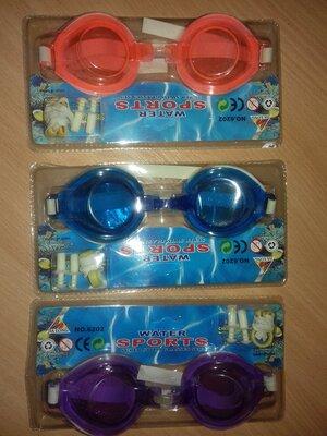 Набор для плаванья очки беруши зажим для носа.