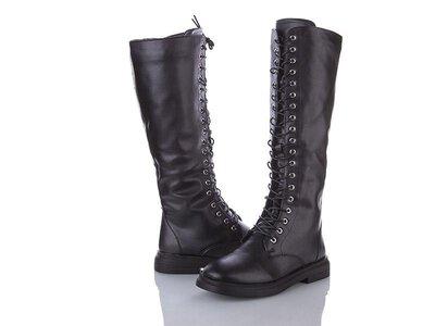 Женские кожаные сапоги на шнурках