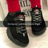 Женские замшевые кроссовки в стиле Fila натуральная замша кроссовки фила черные