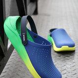 Сабо crocs literide синие с салатовым clog navy citrus original