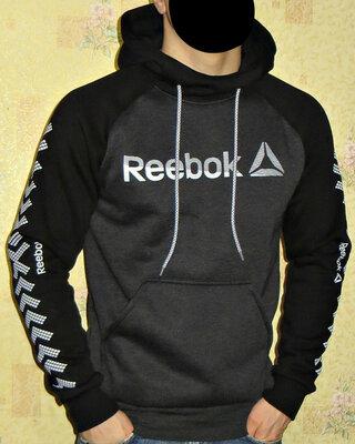 Теплая спортивная кофта с капюшоном - худи Reebok темно-серая комбинированная.