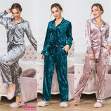 женская пижама велюр штаны и рубашка в разных цветах аа 3197