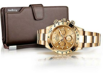 Комплект Легендарные Часы ROLEX DAYTONA портмоне Baellerry Business