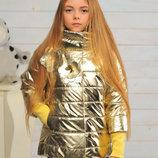 Демисезонная дтская куртка на девочку Миледи золото Размеры 122- 152