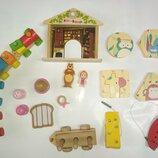 Лот.деревянный конструктор поезд авто машина игрушка пазл шнуровка кубики конструктор дерево маша и