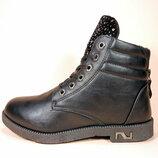 Женские демисезонные модные ботинки на шнуровке и молнии, на удобном каблуке.