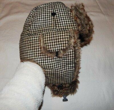 Теплая шапка - ушанка, Ог 56-58 см, шапочка