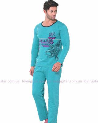 Мужская пижама с начесом, с длинным рукавом и брюками. Турция.
