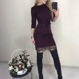 Платье с кружевом с гипюром