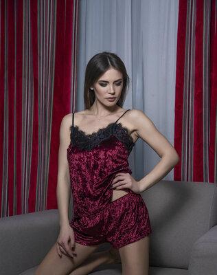 f62ee57ae5c60 Велюровая пижама,женский комплект майка с шортами для дома и сна ...