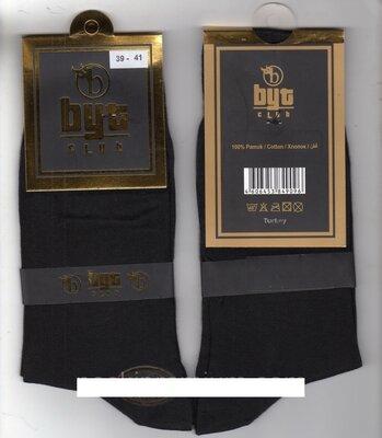 Носки мужские демисезонные 100% хлопок Byt Club,39--47 р,12 пар.чёрные, Турция