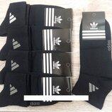 ORIGINAL - Носки мужские демисезонные спортивные х/б Adidas, Турция, средние, чёрные,12 пар Турция