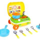 Кухня с набором посуды Технок в чемодане на колесах, арт. 6078