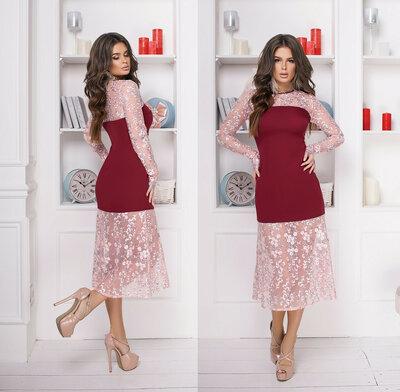 76c40ccaed54637 Продано: Элегантное нарядное женское платье 547 Креп Миди Рукава Годе  Вышивка в расцветках. Previous Next