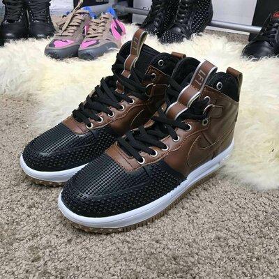 Утепленные ботинки, высокие кроссовки Nike Lunar Force 1 Duckboot Brown