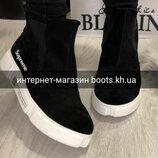 Весна 2019.Женские замшевые демисезонные ботинки челси в стиле Supreme натуральная замша