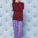 Детская пижама для девочки в цвете бордо 122-152