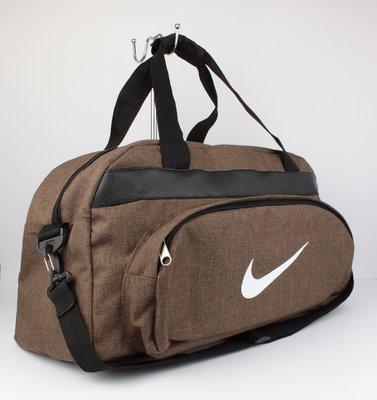 Качественная спортивная, дорожная сумка nike 1325-3 коричневая уплотненная