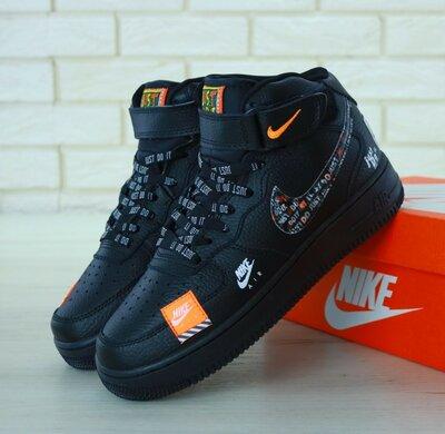 Мужские кроссовки Nike Air Force 1 Hi Just Do It Black черный
