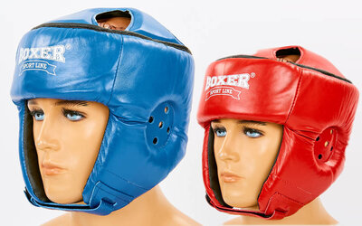 Шлем боксерский открытый с усиленной защитой макушки Boxer 2029 шлем бокс размер M-XL, кожа 2 цв