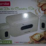 набор хлебница нержавейка 2 шт емкости для сыпучих,цвет на выбор