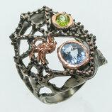 Серебряное кольцо Ручная работа . Размер 17.5
