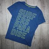 Стильная футболка синяя яркая надпись Tu 12 лет, рост 152 см.