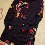 Платье мини,рубашка туника в клетку цветочный принт размер 6-8 missguided