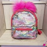 Детский рюкзак с пайетками и карманом, цвета