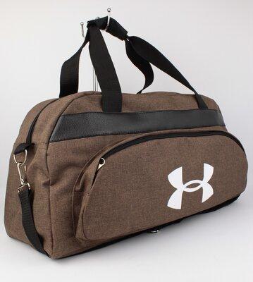 Качественная спортивная, дорожная сумка under armour 1326-3 коричневая уплотненная