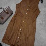 Платье сарафан рубашка лёгкое под замшу размер 10 qed london